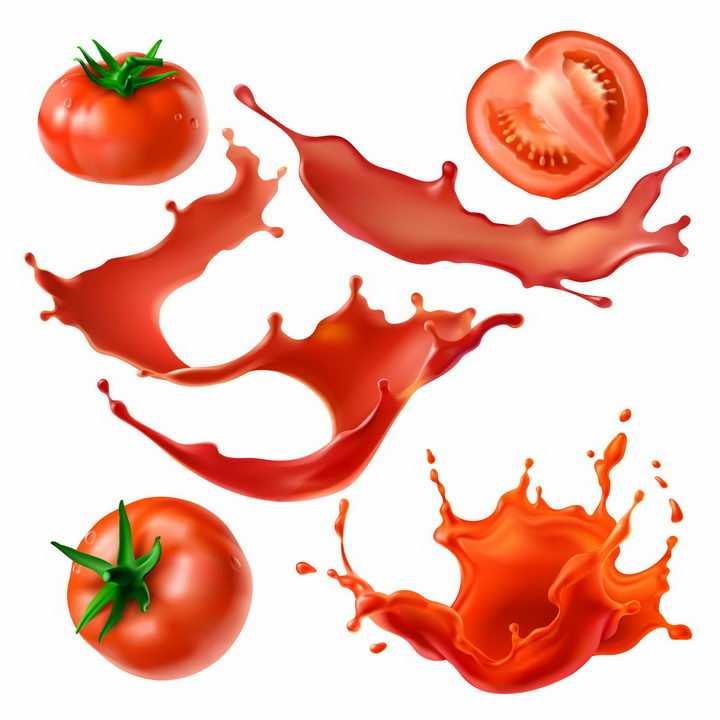 西红柿切开的番茄和红色的番茄汁液体效果png图片免抠矢量素材