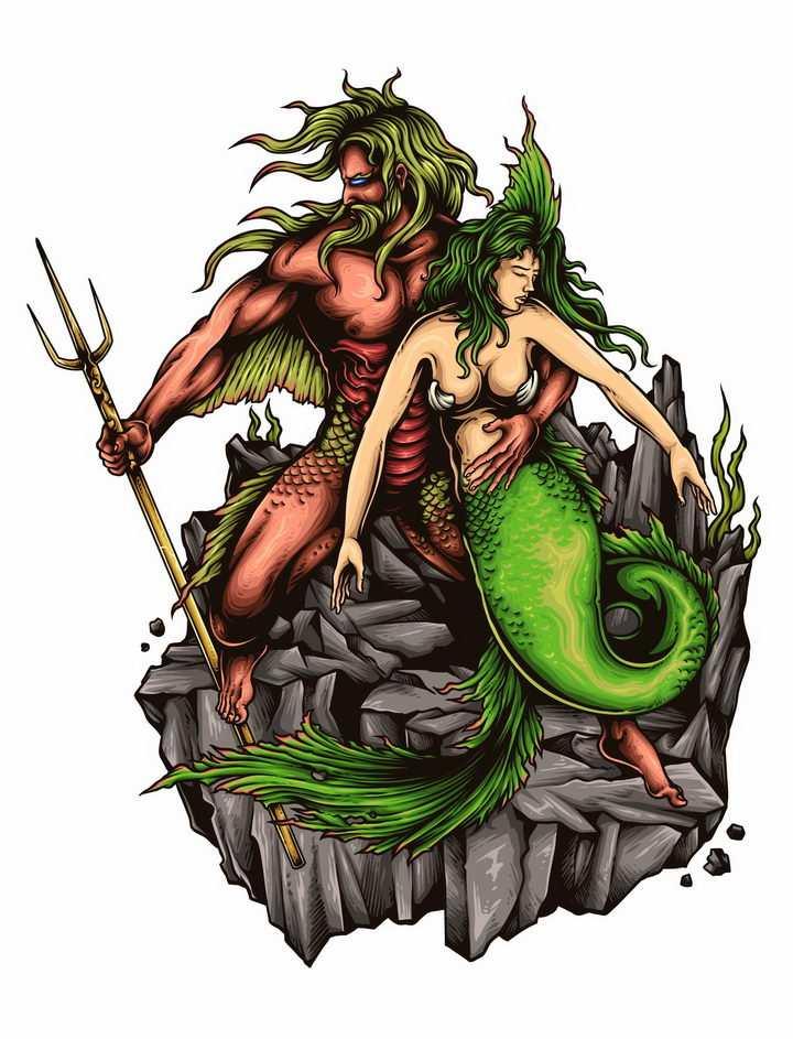 漫画风格古希腊神话中的海神拿着三叉戟的海神波塞冬与美人鱼海后png图片免抠矢量素材