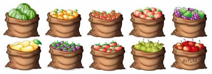 10款装在麻袋中的西瓜西红柿桃子葡萄芒果苹果等水果png图片免抠矢量素材