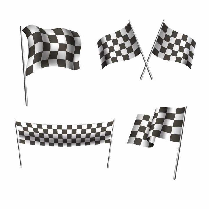 三款赛车比赛黑白方格旗终点格子旗png图片免抠eps矢量素材