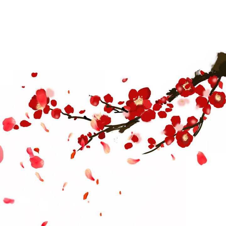 中国画风格枝头的桃花和飘落的红色花瓣png图片免抠素材