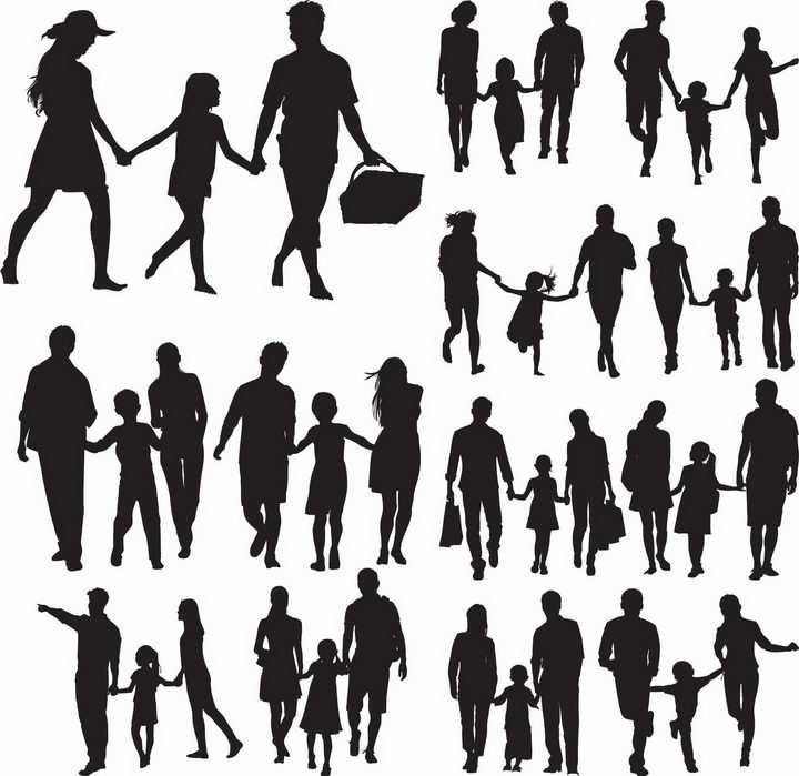手牵手购物散步的一家三口亲子人物剪影png图片免抠矢量素材