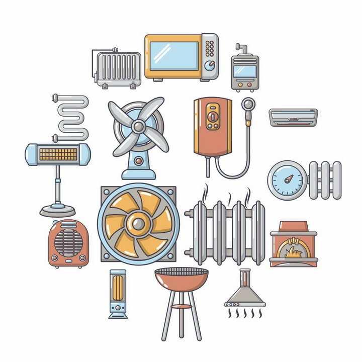 卡通风格散热器暖气片燃气热水器烧烤架抽油烟机等家用电器png图片免抠矢量素材