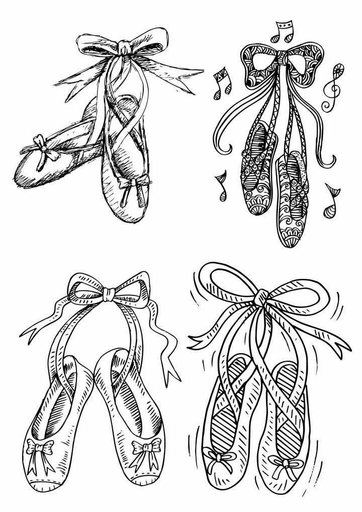 4双手绘线条芭蕾舞鞋简笔画png图片免抠矢量素材