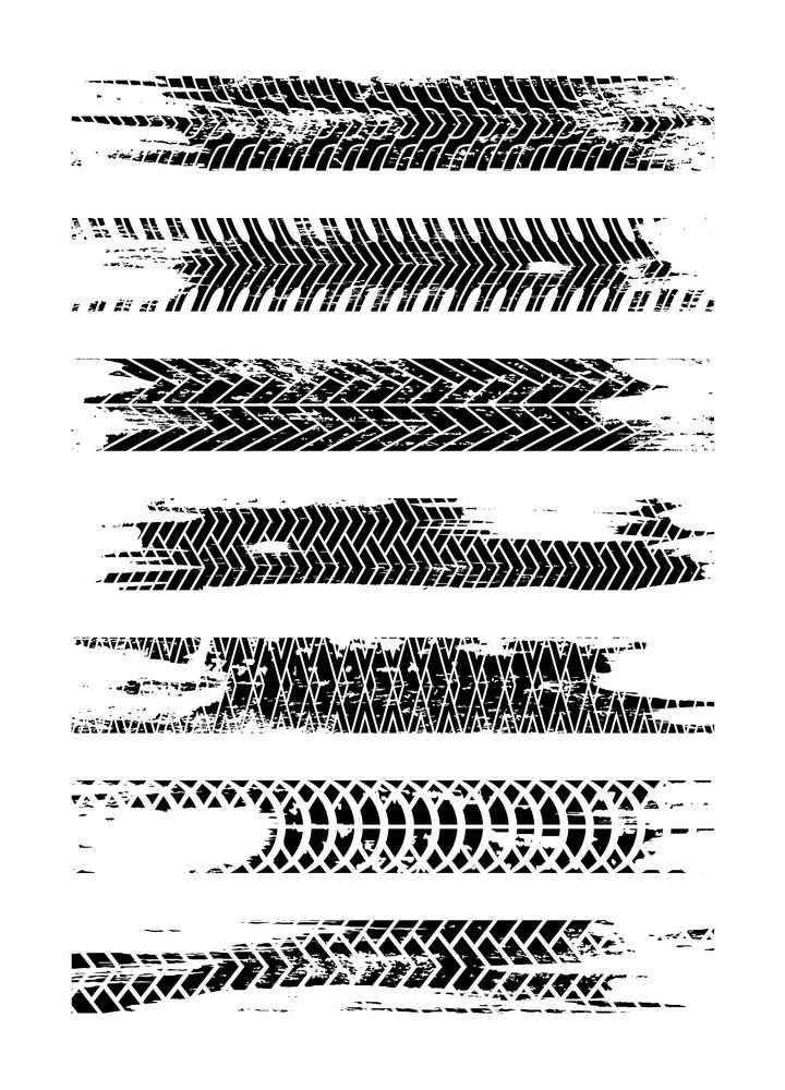 7款斑驳的汽车轮胎印痕迹png图片免抠矢量素材