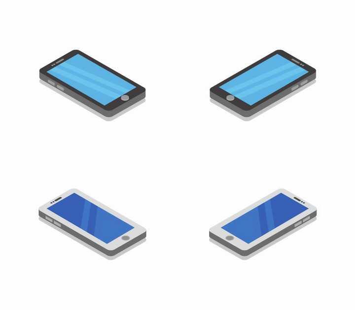 4个不同角度的2.5D风格智能手机png图片免抠矢量素材