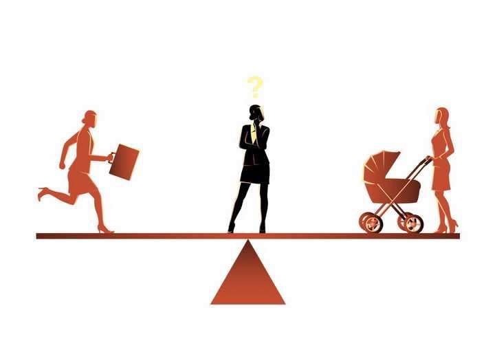 抽象天平女性是做全职妈妈还是职场女性职业规划png图片免抠矢量素材