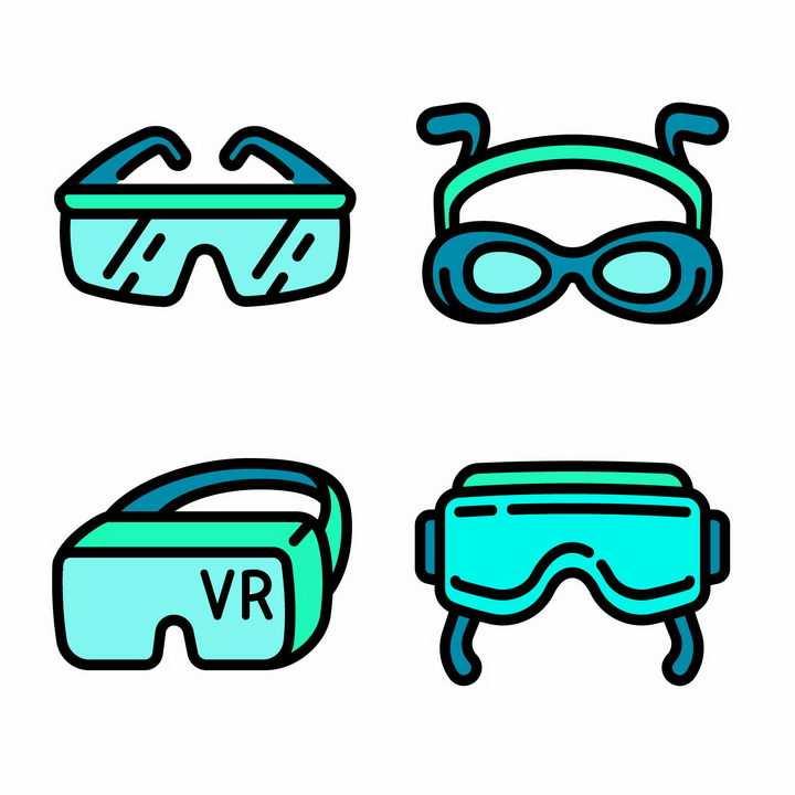 4款MBE风格的绿色眼镜潜水镜VR眼镜png图片免抠矢量素材