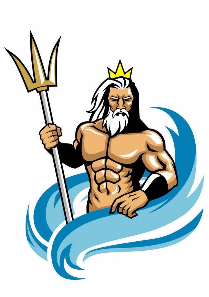 卡通漫画风格古希腊神话中的海神手持三叉戟的海神波塞冬png图片免抠矢量素材