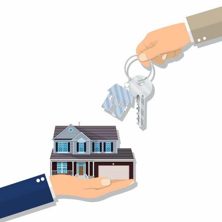 钥匙扣上的房子模型一手交钥匙一手交房子买房房贷png图片免抠矢量素材