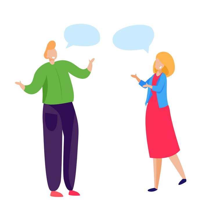 扁平插画风格正在对话有对话框的年轻人png图片免抠矢量素材