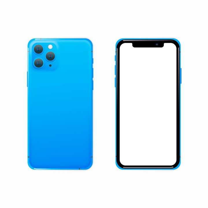 空白屏幕蓝色苹果iPhone 11 Pro智能手机正反面png图片免抠eps矢量素材