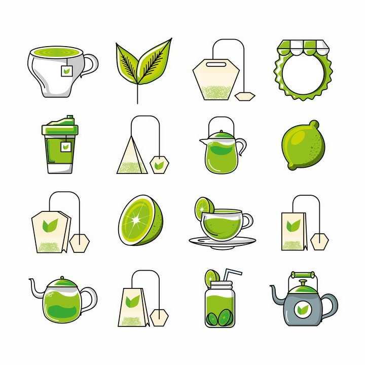 16款绿色手绘风格袋泡茶包茶叶等饮料png图片免抠eps矢量素材