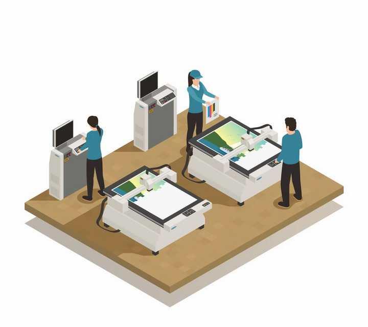 2.5D风格彩印店正在制作各种印刷品png图片免抠eps矢量素材