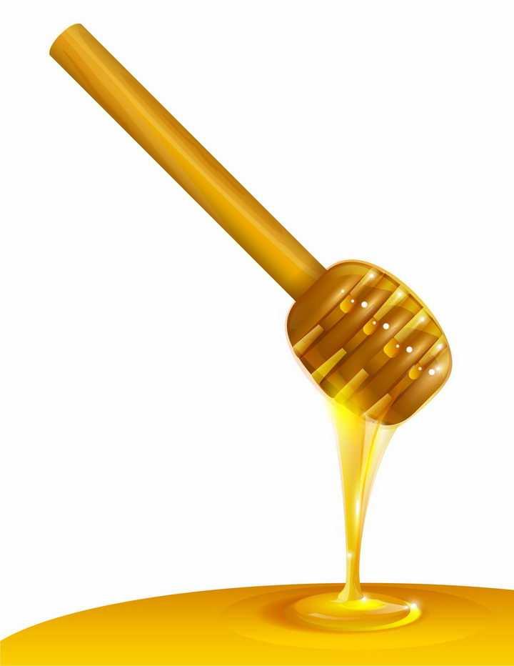 蜂蜜棒和流淌下来的蜂蜜美食png图片免抠矢量素材