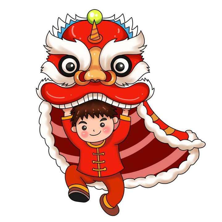 新年春节舞狮子表演的卡通男人png图片免抠素材
