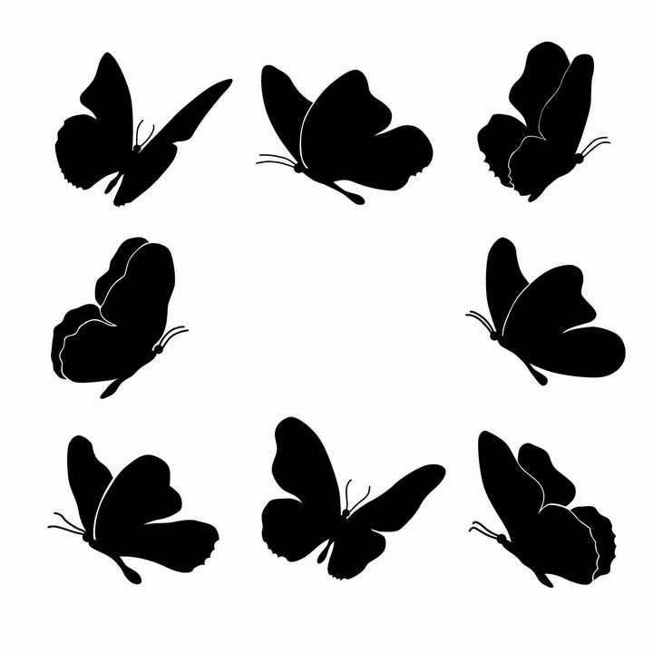 8款蝴蝶昆虫虫子剪影png图片免抠矢量素材
