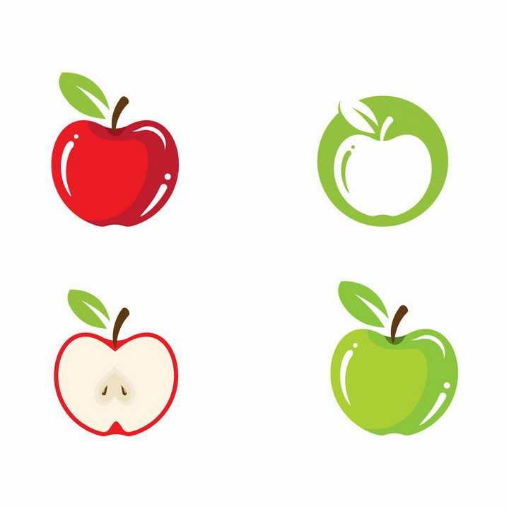 扁平化风格红色和绿色苹果美味水果横切面png图片免抠EPS矢量素材