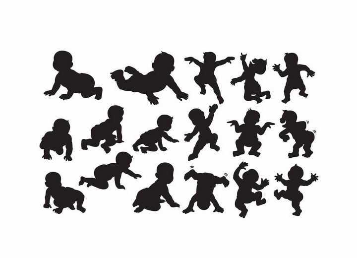 各种刚学会爬的婴儿宝宝剪影png图片免抠矢量素材