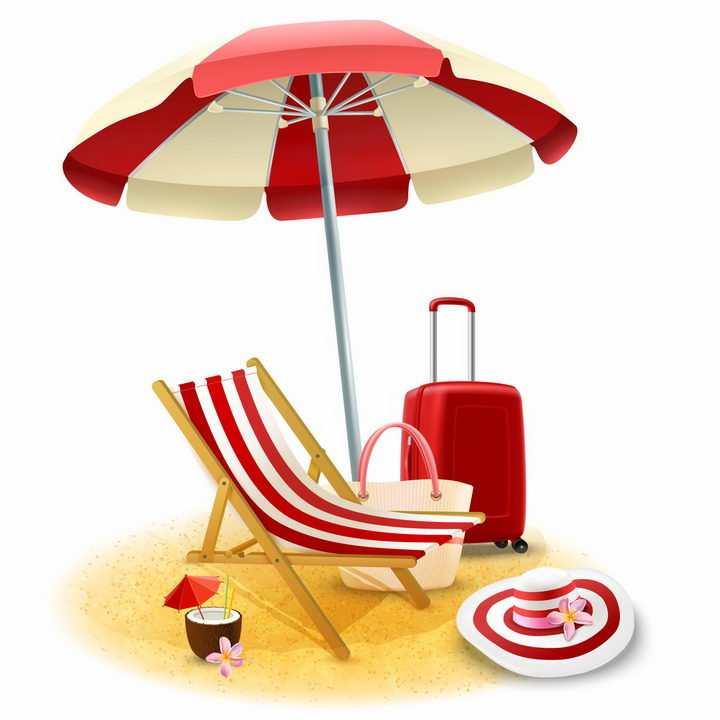 红白色相间的遮阳伞和沙滩躺椅红色行李箱等海边旅游png图片免抠eps矢量素材