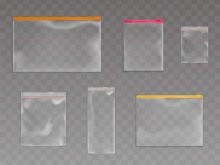 各种透明自封口袋包装袋png图片免抠矢量素材