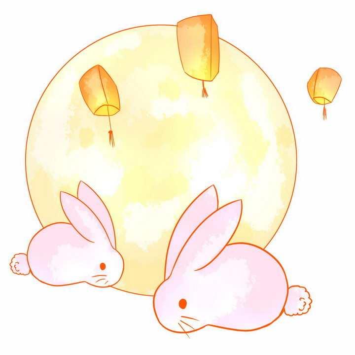 两只粉色小兔子黄色月亮中秋节png图片免抠素材