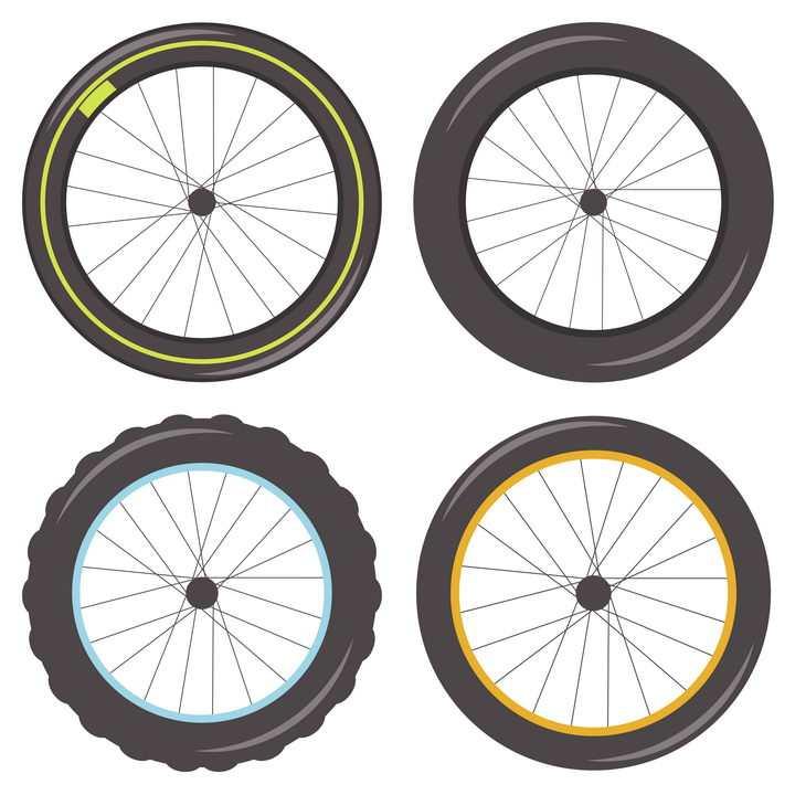 4款扁平化风格的自行车和摩托车轮胎侧视图png图片免抠矢量素材