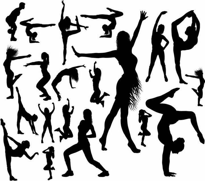 各种拉丁舞瑜伽动作美女剪影png图片免抠矢量素材