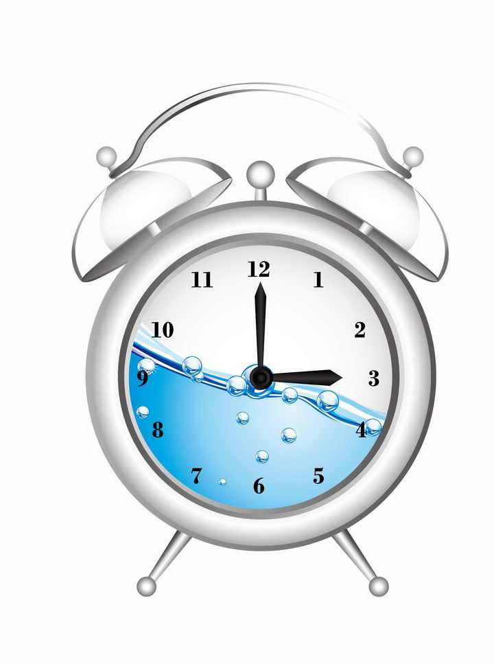 半透明的闹钟里面有蓝色的液体png图片免抠eps矢量素材
