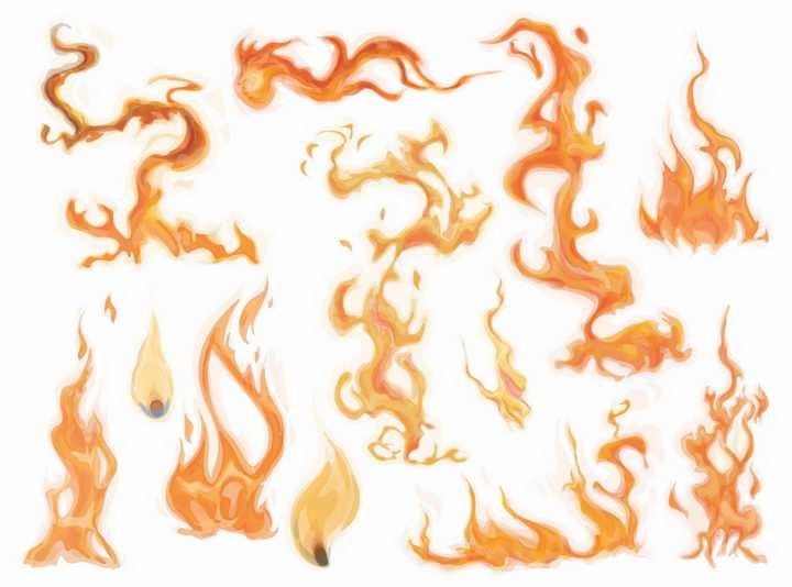 各种火红色火焰火苗燃烧效果png图片免抠矢量素材