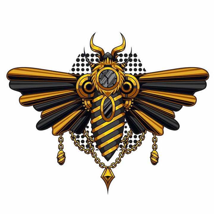 蒸汽朋克风格的机械大黄蜂蜜蜂png图片免抠矢量素材