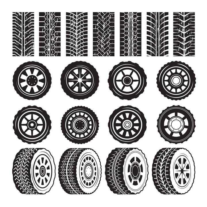 各种黑白色的汽车轮胎和轮胎印车轮印png图片免抠矢量素材