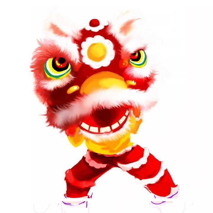 红色新年春节舞狮子表演png图片免抠素材