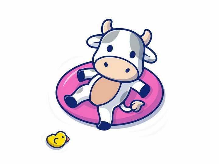 躺在游泳圈上的卡通小牛png图片免抠矢量素材