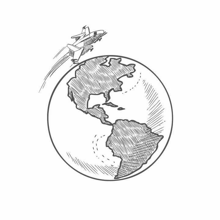 手绘涂鸦风格环绕地球飞行的宇宙飞船png图片免抠矢量素材