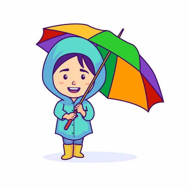 可爱卡通小女孩穿着雨衣打着七彩雨伞png图片免抠矢量素材