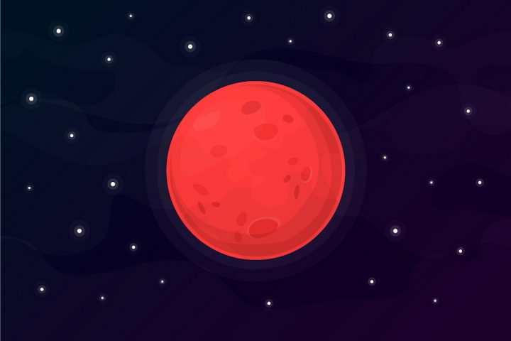 红色的卡通星球火星png图片免抠eps矢量素材