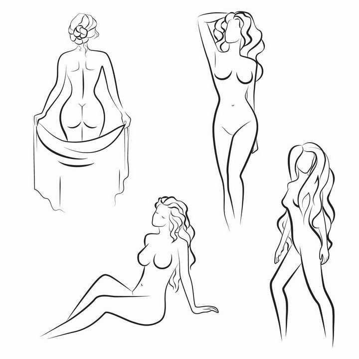 4款简约线条美女曲线女人png图片免抠矢量素材