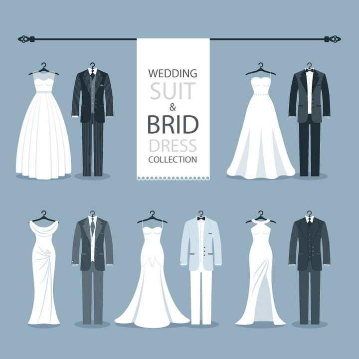 5款扁平化风格的婚纱和西装新娘新郎服装png图片免抠矢量素材