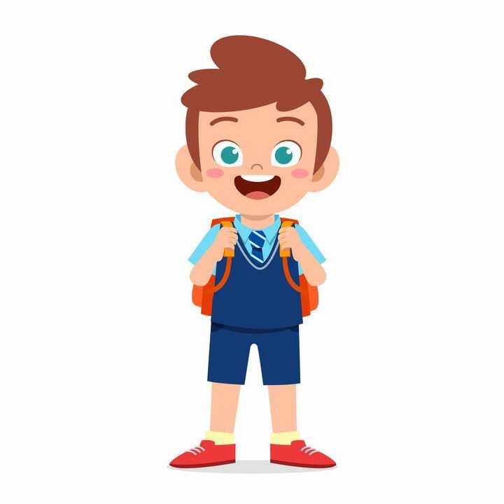 背着书包准备去上学的卡通小男孩png图片免抠矢量素材