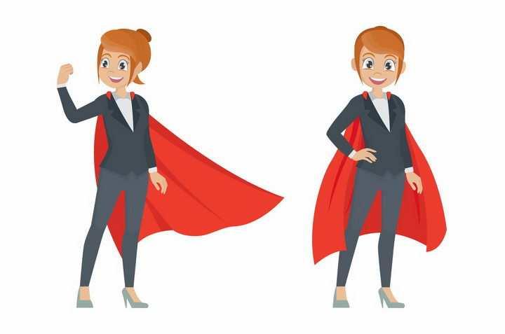 给自己鼓劲打气加油穿着红色披风的职业女性png图片免抠eps矢量素材