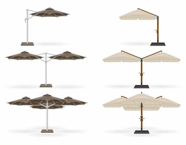 6款户外遮阳伞庭院伞休闲太阳伞png图片免抠eps矢量素材