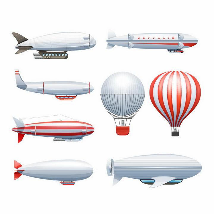各种造型的飞艇和热气球png图片免抠eps矢量素材 交通运输-第1张