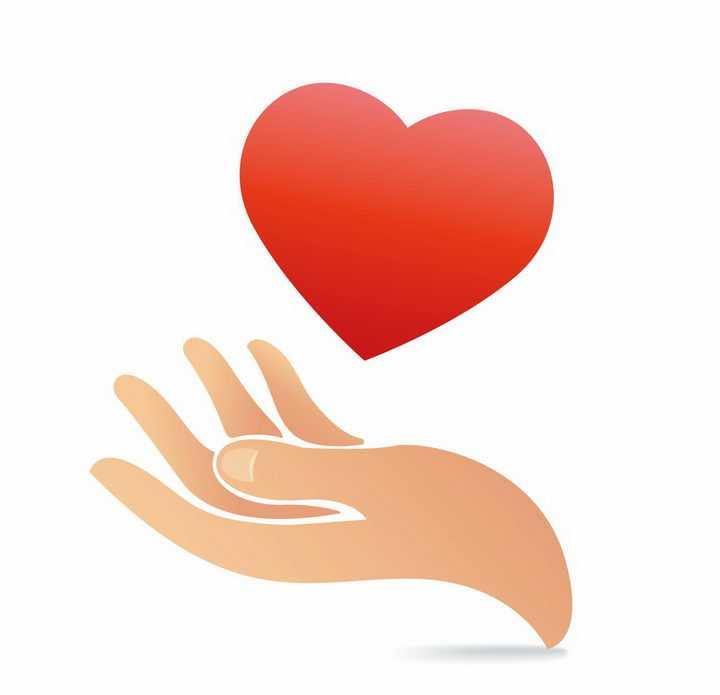 单手托起的红心象征献爱心图案png图片免抠矢量素材