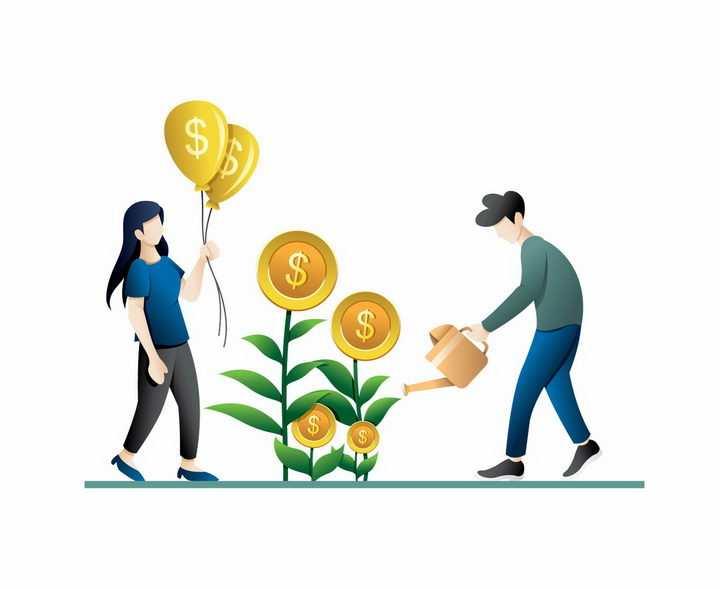 扁平插画风格浇水的植物长出金币女人拿着美元符号的气球png图片免抠矢量素材