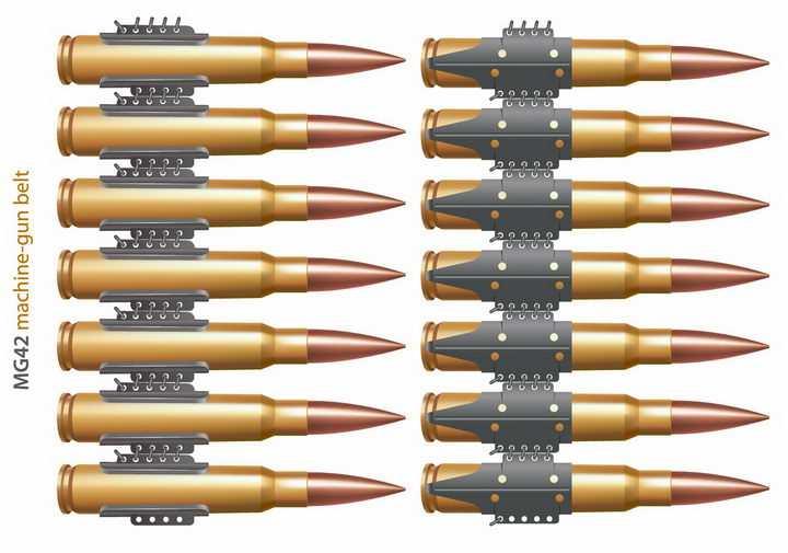 子弹链上的子弹图片png免抠素材