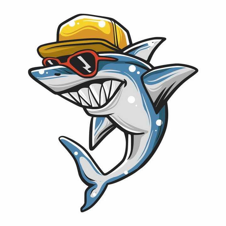 手绘卡通戴着帽子和墨镜的卡通鲨鱼png图片免抠矢量素材