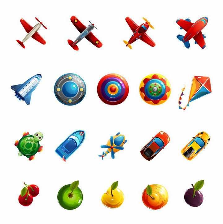 卡通风格小飞机宇宙飞船飞碟汽车水果等png图片免抠矢量素材