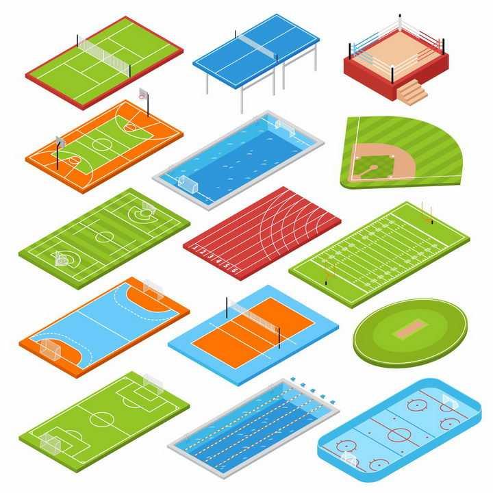 16款网球场羽毛球场拳击擂台足球场游泳池跑道等体育场设施png图片免抠eps矢量素材