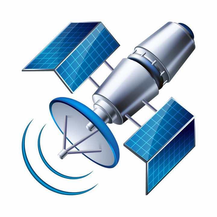 正在发射信号的卡通通信人造卫星png图片免抠eps矢量素材
